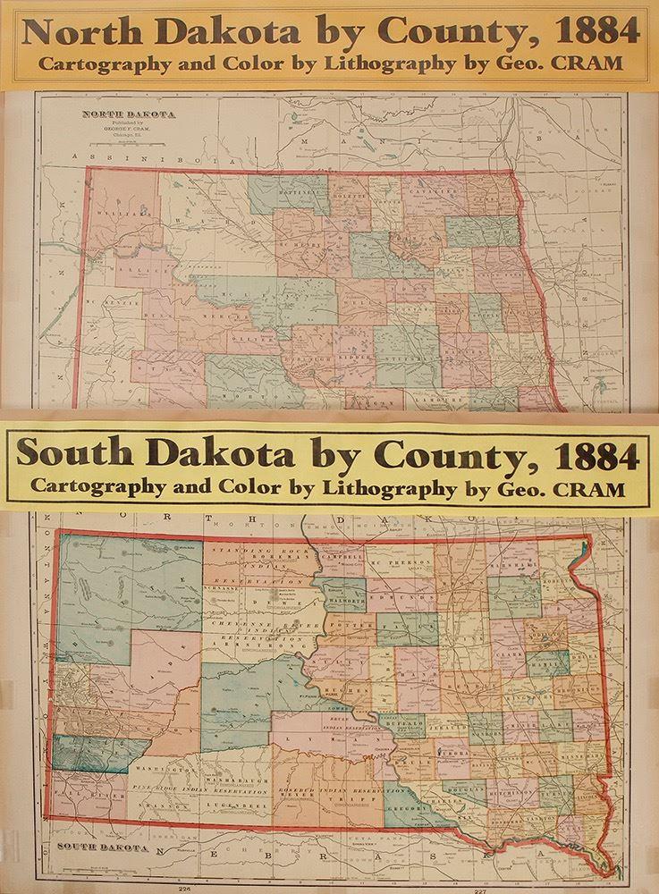 Maps of North and South Dakota