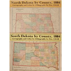 Maps of North and South Dakota