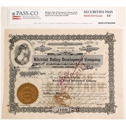 Klickitat Valley Development Company Stock Certificate, 1911