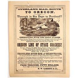 Portland Overland Mail Route Handbill Reprint