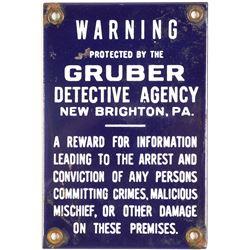 Gruber Detective Agency Metal Warning Sign