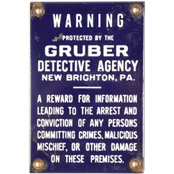 Gruber Detective Agency Metal Warning Sign