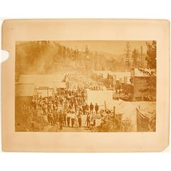 Large, Early Deadwood City Mounted Photo.
