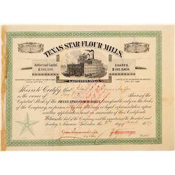 Texas Star Flour Mills Stock Certificate