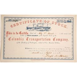Columbia Transportation Company Stock Certificate, Washington Territory, 1863