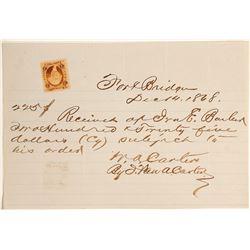 Rare Fort Bridger, Utah /Wyoming Territory Certificate of Deposit for Post Trader