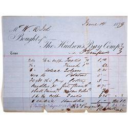 Rare Billhead for the Hudson's Bay Company, 1879