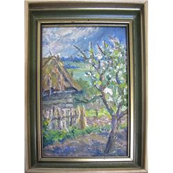 Oil Painting of Landscape with Barn