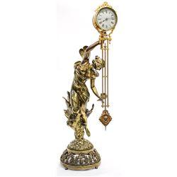 French Art Nouveau Bronze w/ Clock