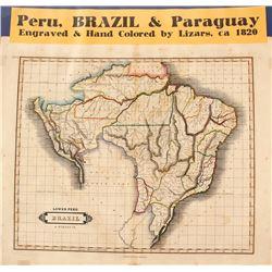 Map of Peru, Brazil & Paraguay