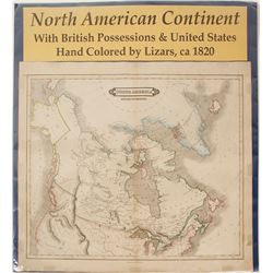 North American Continent Map by Lizars