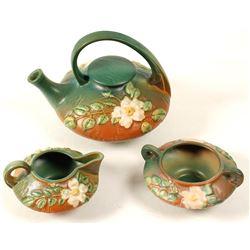 Roseville Teapot, Creamer, Sugar