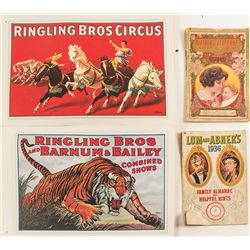 Old Almanacs (2) and a Circus Poster Book
