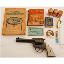 Assortment of Child's Chemistry Set with Gene Autry Toy Gun