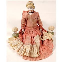 Vintage Doll Heads and Doll in Dress