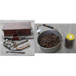 carpenter chest of antique tools