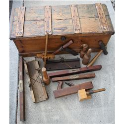 carpenter's chest with Stanley Rule level No. O