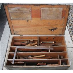 Carpenter's chest with vintage Spear & Jackson hand saw