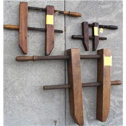 Three screw type wood clamps