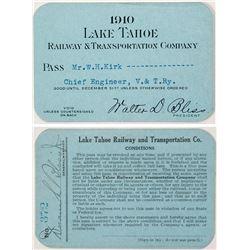 Lake Tahoe Railway & Transportation Company 1910 Pass