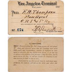 Los Angeles Terminal Railway Pass, 1891