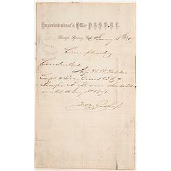 Manuscript Pass for the Placerville & Sacramento Valley Railroad