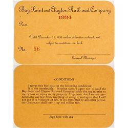 Bay Point & Clayton Railroad Company Pass, 1934