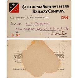 California Northwestern Railway Co. Pass, 1904