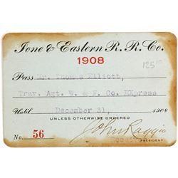 Ione & Eastern Railroad Co. Annual Pass, 1908