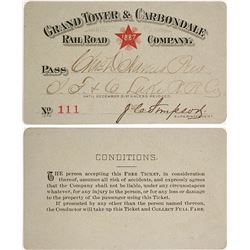 Grand Tower & Carbondale Railroad Co. Pass, 1887
