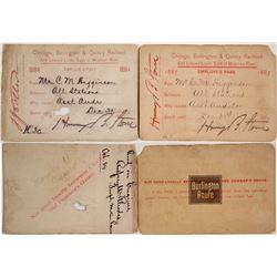 Chicago, Burlington, & Quincy Railroad Employee Passes, 1880s