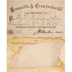 Evansville & Crawfordsville Railroad Pass, 1876