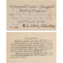 Indianapolis, Decatur & Springfield Railway Co. Pass, 1878