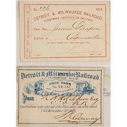 Detroit & Milwaukee Railroad Passes (1874 & 1876)