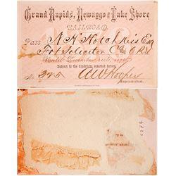 Grand Rapids, Newaygo & Lake Shore Railroad Pass, 1876