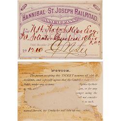 Hannibal & St. Joseph Railroad Pass, 1876