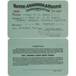 Butte, Anaconda & Pacific Railway Pass, 1920