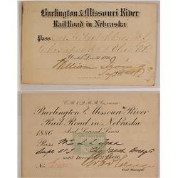 Burlington & Missouri River Railroad in Nebraska Passes (1876 & 1886)