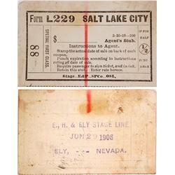 Eureka, Hamilton, & Ely Stagecoach Line Ticket, 1906