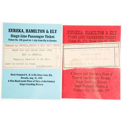 Two Tickets for the Eureka, Hamilton & Ely Stage Line