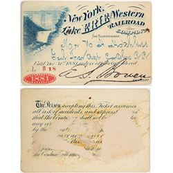 New York, Lake Erie & Western Railroad Pass, 1881, Pictorial