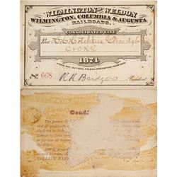 Wilmington & Weldon / Wilmington, Columbia, & Augusta Railroad Pass, 1874