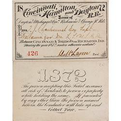 Cincinnati, Hamilton & Dayton Railroad Pass, 1872
