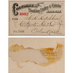 Columbus, Hocking Valley, & Toledo Railway Pass 1882