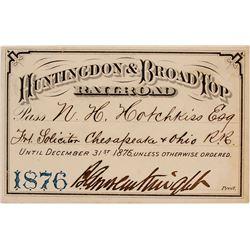 Huntingdon & Broad Top Railroad Pass, 1876