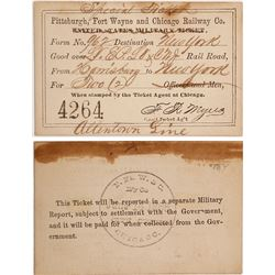 Pittsburgh, Fort Wayne & Chicago Railway Co. Special Ticket, 1866