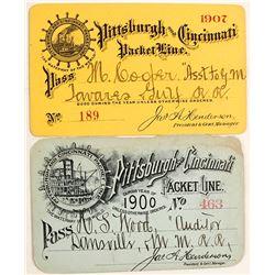 Pittsburgh & Cincinnati Packet Line; Steamboat Passes