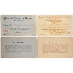 Two Early Pennsylvania Railroad Passes