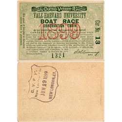 Central Vermont Railway Pass for Yale-Harvard University Boat Race, 1899