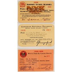 Three Different Canadian Railroad/Steamer Passes